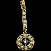 14 Karat Ceylon Sapphire Lavaliere with Pearls