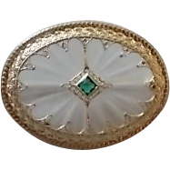 14 Karat Unusual Crystal Quartz Brooch