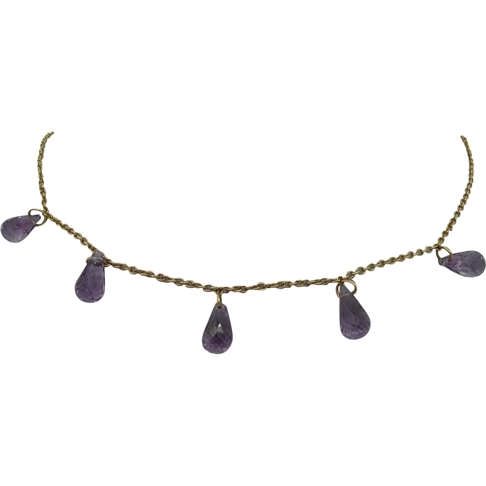 9 Karat English Gold Necklace with Briolette Amethysts