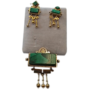 14 Karat Victorian Malachite Pin and Earring Set