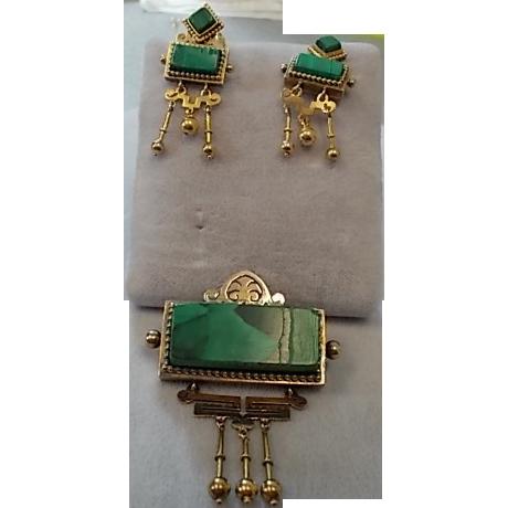 14 Karat Victorian Malachite Pin and Earring Set