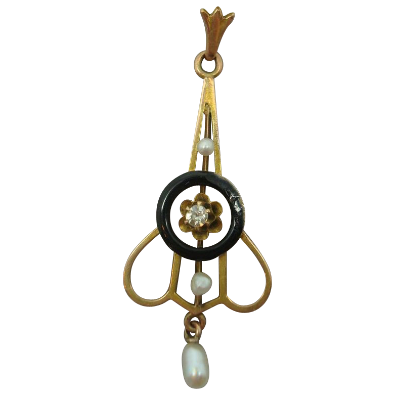 Victorian Gold Enamel Lavalier Pendant with Diamond