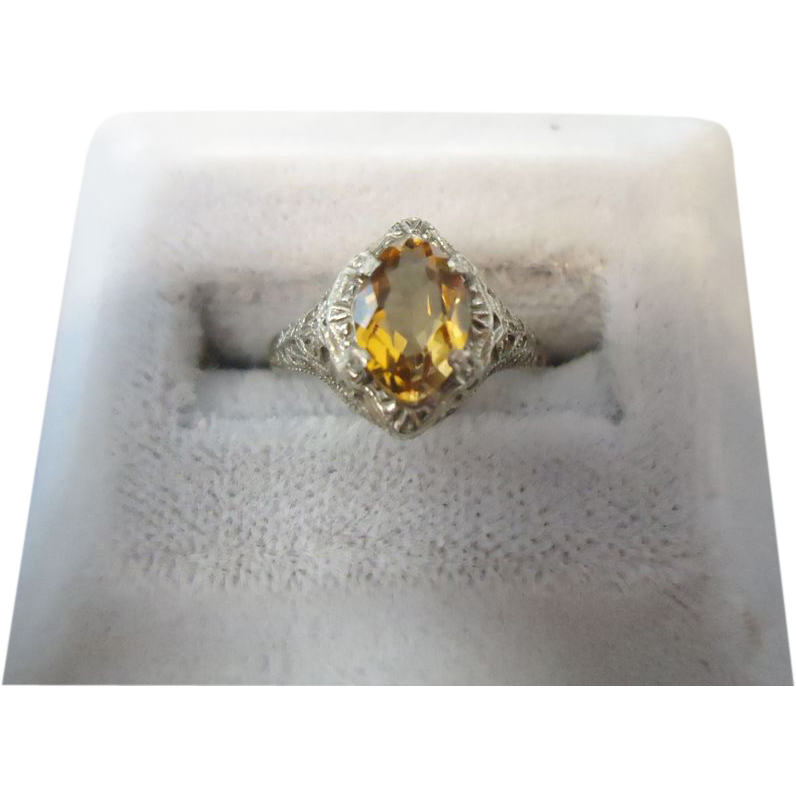 10 Karat Marquise Citrine Filigree Ring