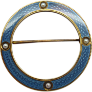 14 Karat and Blue Enamel Circle Pin