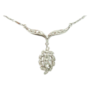 14 Karat Marquise .88 Carat Total Diamond Necklace
