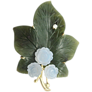 14 Karat Jade Leaf Brooch with Blue Chalcedony Flowers