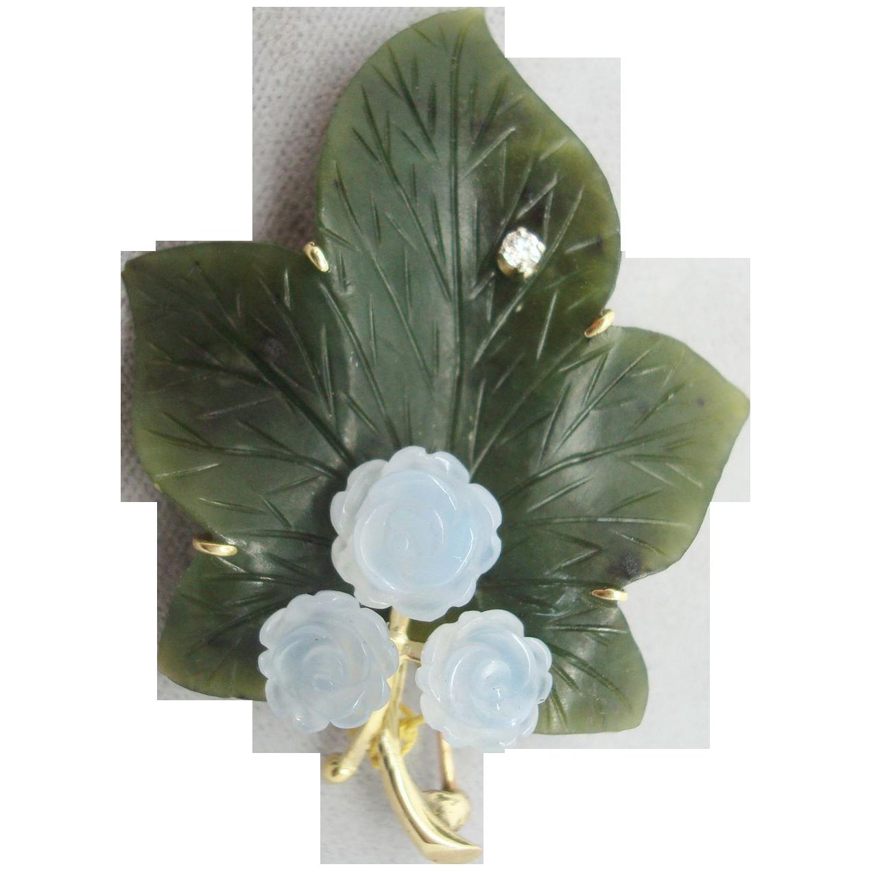 14 Karat Jade Leaf Brooch with Blue Chalcedony Flowers