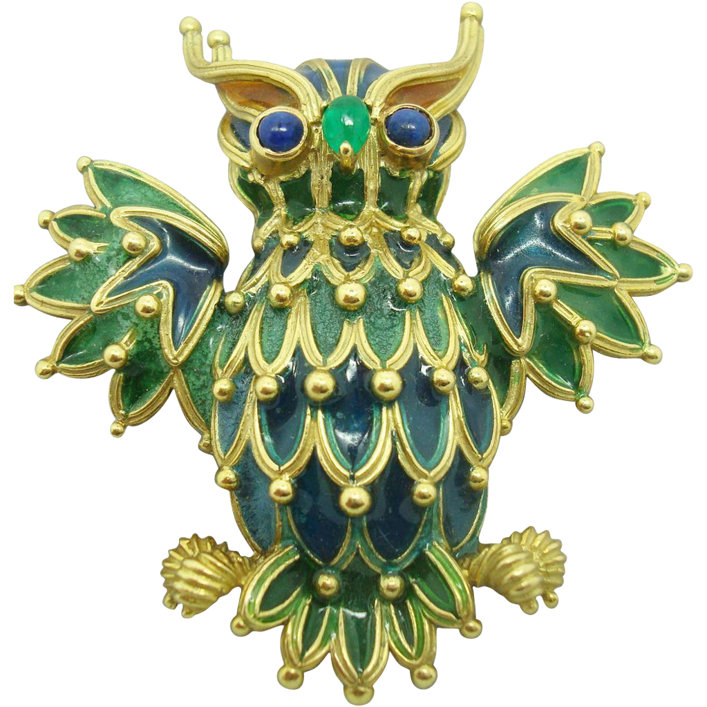 18 Karat Plique-a-Jour Owl Brooch with Sapphires and Emerald
