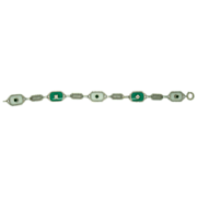 14 Karat Crystal Quartz Filigree Bracelet with Chrysoprase