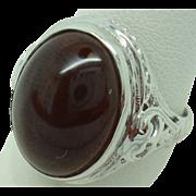 14 Karat Oval Cabochon 6.65 Carat Garnet Filigree Ring