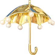 Tiffany 18 Karat Umbrella Brooch with 8 Pearls