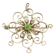 Victorian Pin with Rare Demantoid Green Garnet