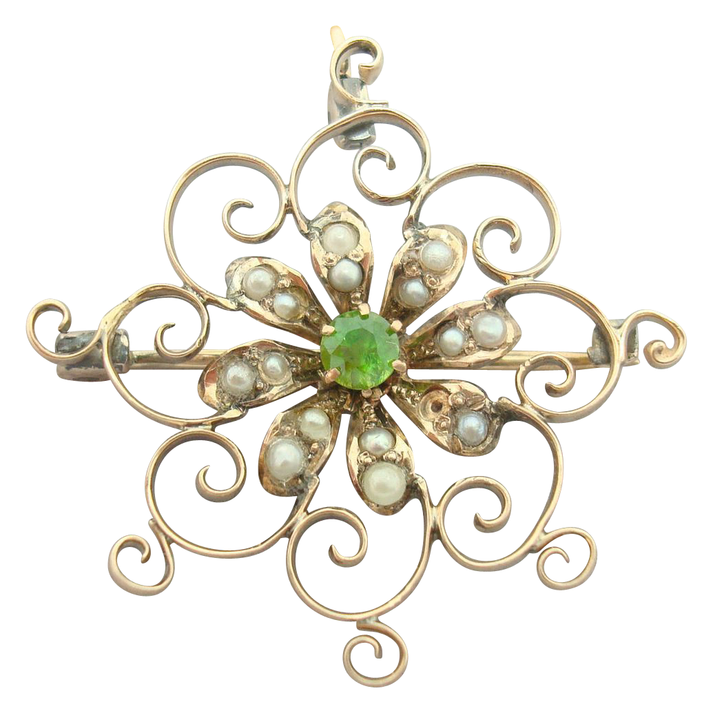 Victorian Pin with Rare Demantoid Green Garnet