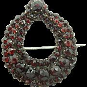 Genuine Natural Bohemian Garnet Wreath Pin