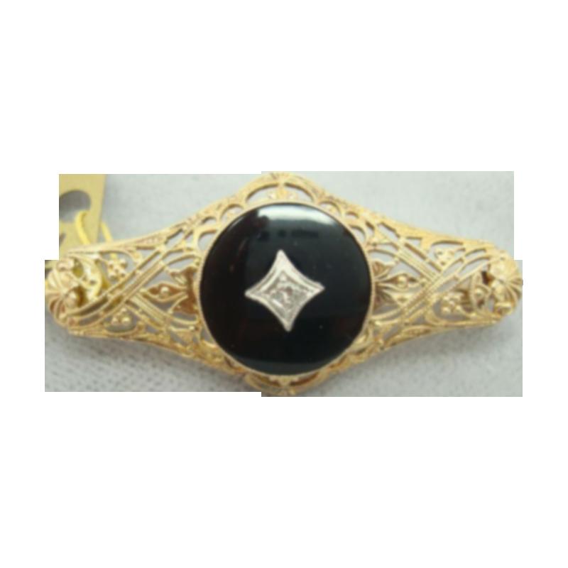10 Karat Round Black Onyx Pin with Diamond