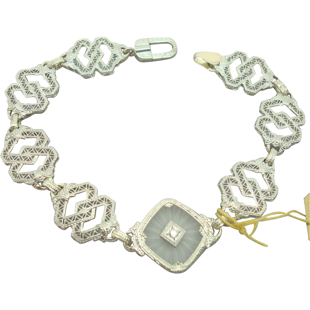 White Gold Diamond Camphor Glass Filigree Bracelet