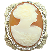 14 Karat Oval Shell Cameo Brooch with Applied Flowers