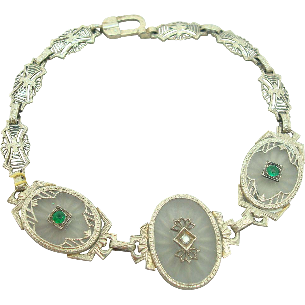 Filigree 14 Karat Camphor Glass Bracelet with Diamond and Emeralds