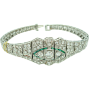Platinum Diamond Bracelet with Synthetic Emeralds