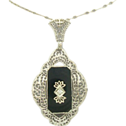 14 Karat Filigree Onyx Pendant with Paperclip Chain
