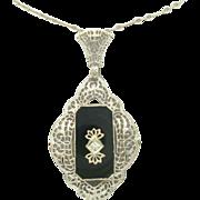 14 Karat Filigree Onyx Pendant with Paperclip Chain