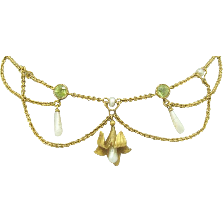 10 Karat Festoon Necklace with Peridots and Pearls