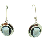 14 Karat Dangle Hard Stone Cameo Earrings