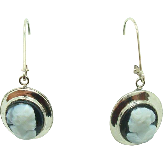 14 Karat Dangle Hard Stone Cameo Earrings