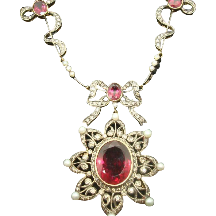 Victorian Style Rubellite Tourmaline Necklace