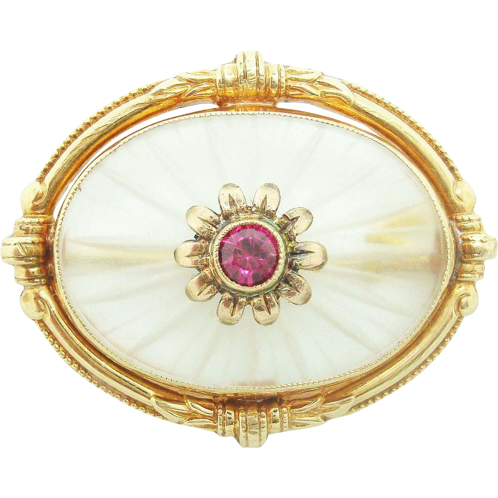 Rare 14K yellow gold Crystal Quartz Brooch