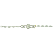 10K Oval Rock Crystal Filigree Bracelet w Dia