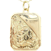 English 9K Locket etched with leaves
