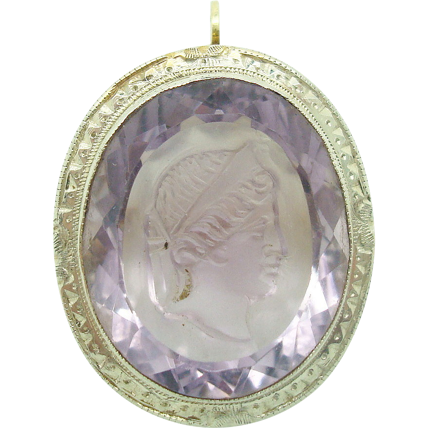 14K Large Oval Amethyst Cameo Pin/Pendant