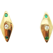 10K Diamond Shaped Earrings w Emeralds and Dias