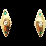 10K Diamond Shaped Earrings w Emeralds and Dias