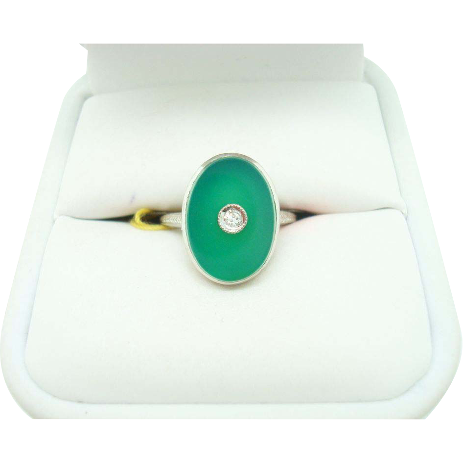 14K Oval Chrysoprase Ring w Diamond