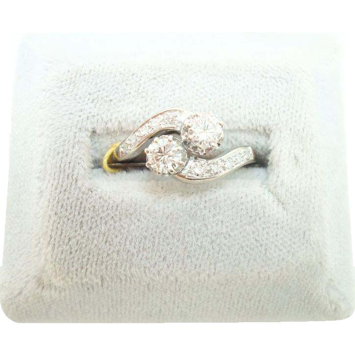 18K 2 Brilliant Cut .48ct Diamond Ring w Diamonds