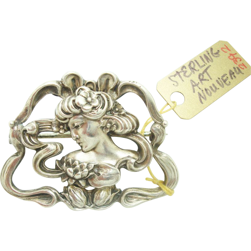 Art Nouveau Sterling Pin w Repousee Woman & Flower