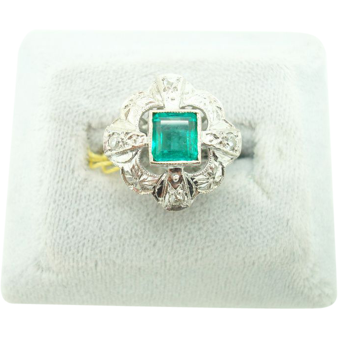14 karat  Square Cut Emerald Ring w Diamonds