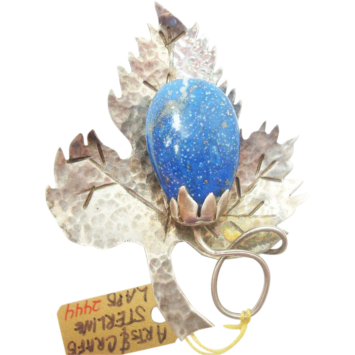 Arts & Crafts Hand Hammered Leaf Brooch w Lapis