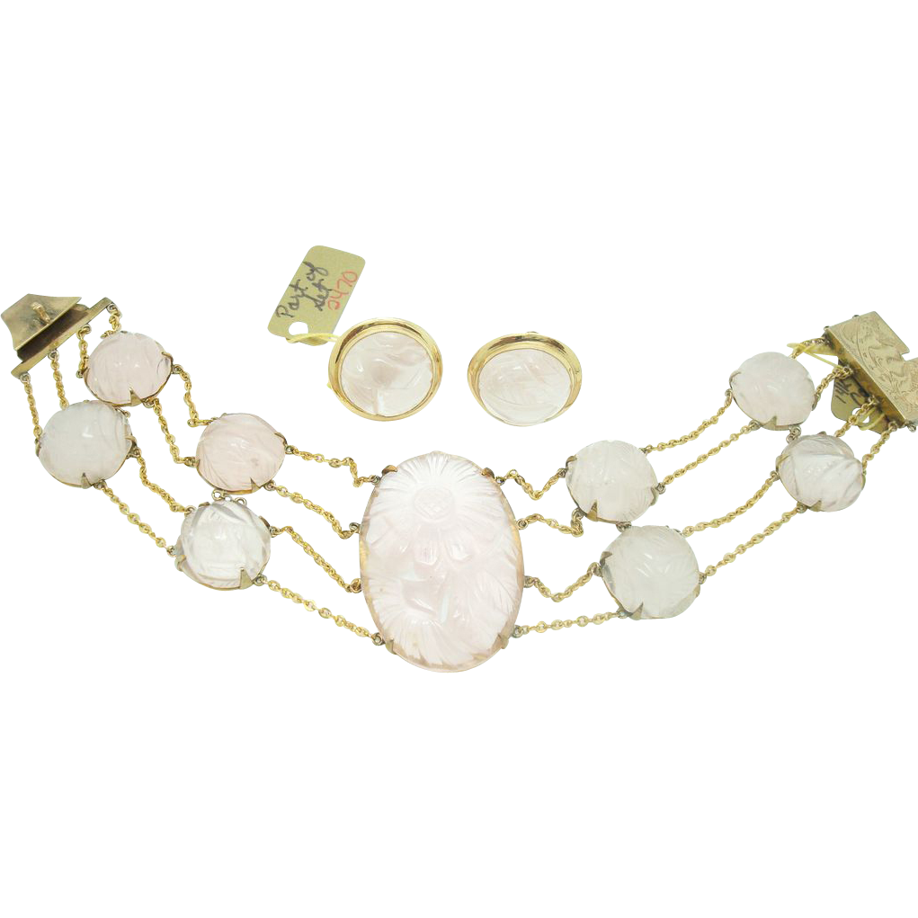 14 karat Carved Rose Quartz Bracelet & Earrings