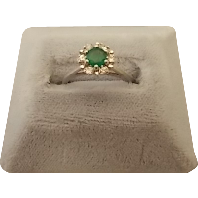 Round Emerald Ring with Diamond Accents