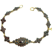 Genuine Natural Bohemian Garnet Bracelet With Round And Oval Garnets