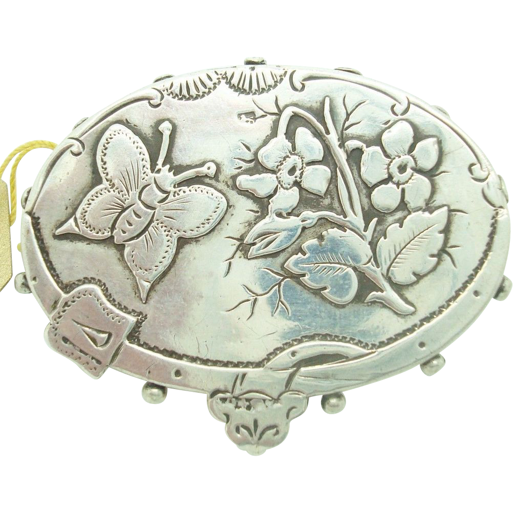 Victorian English Sterling Pin with Etched Butterfly