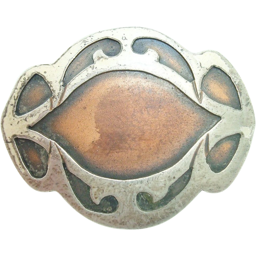 Arts and Crafts Heintz Sterling Pin with Bronze