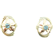 Retro 14 Karat Gold Genuine Natural Aquamarine Earrings with Rose Gold Flowers