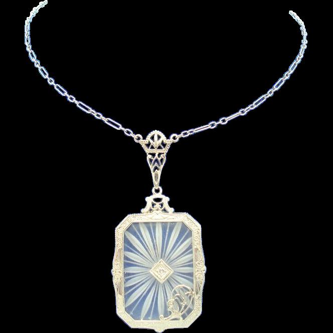 14 Karat Gold Genuine Natural Rock Crystal Filigree Pendant with Tulip