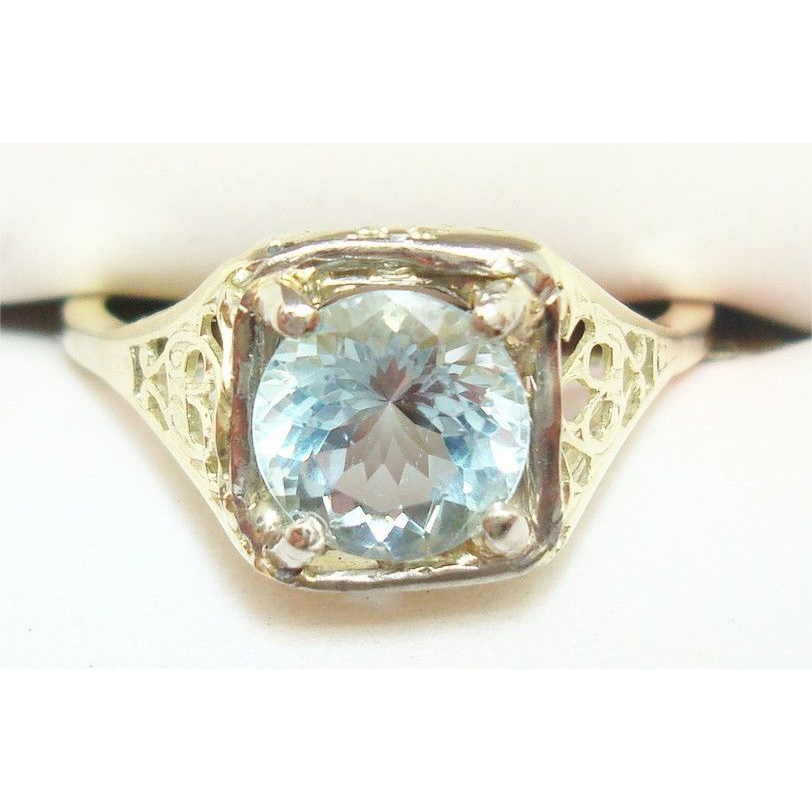 Rare 14 Karat Yellow Gold Filigree Ring with 1.14 Carat Genuine Natural Aquamarine