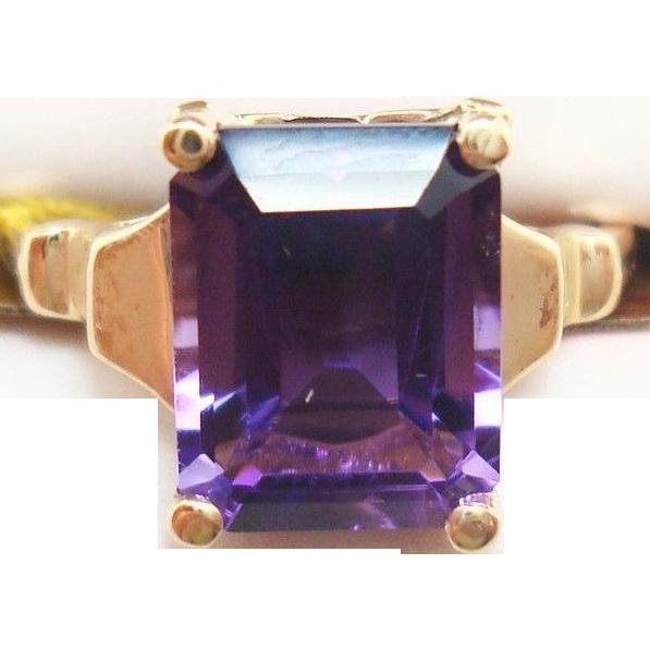 10 Karat Gold Emerald Cut 3.09 Carat Genuine Natural Amethyst Ring