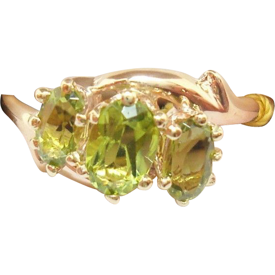 Victorian 10 Karat Gold Ring with Three Oval Genuine Natural Peridots